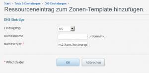 DNS-Zonen Template_ressourceneintrag hinzufügen