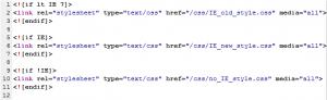 Darstellung von Browserweichen im Seitenquelltext