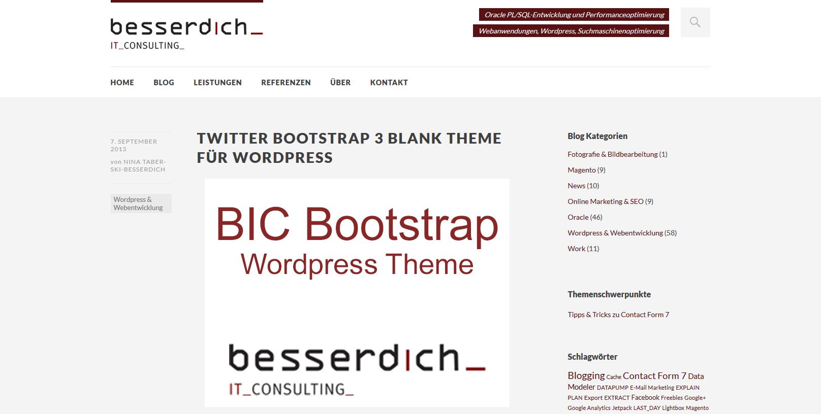 e3a63534c7706 Mit den Blank Bootstram-Themes erspart man sich einerseits einen Großteil  der PHP- und CSS-Anpassungen. Andererseits sind diese Themes aber in erster  Linie ...