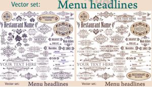 Vintage-Textelemente und Ornamentik für Menükarten