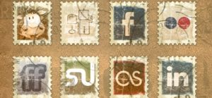 Vintage-Briefmarken Social Media Icon Pack