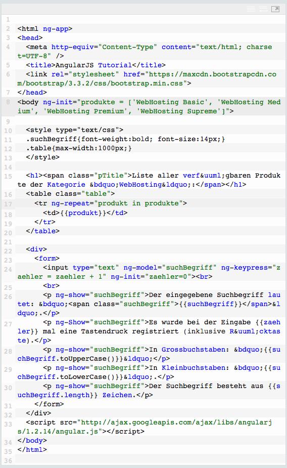 Codebeispiel: ng-init