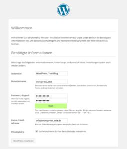 WordPress-Installation Willkommen