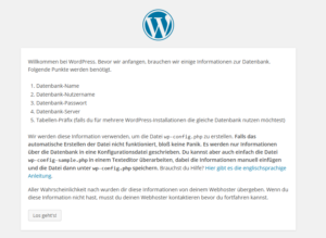 WordPress-Installation starten