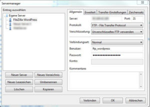FileZilla-Konfiguration