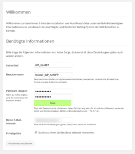 WordPress 5-Minuten-Installation