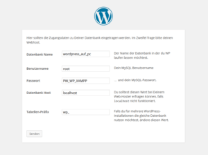 WordPress-Installation Datenbank konfigurieren