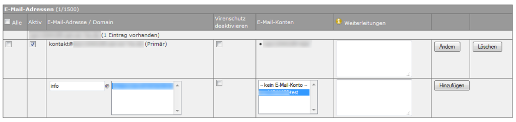 Abbildung: E-Mail-Adressen verwalten