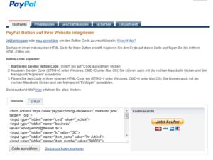 Abbildung PayPal-Button-Code