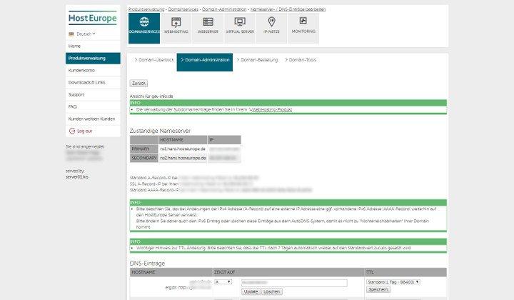 Abbildung - Menüpunkt Domainservices im Administrationsbereich von Host Europe - DNS Einstellungen bearbeiten