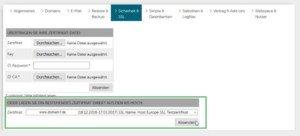 Abbildung - SSL-Zertifikat auswählen