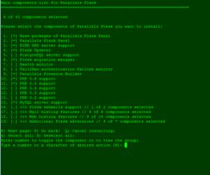Screenshot: Plesk Auswahl Pakete