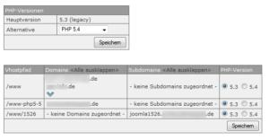 Abbildung - PHP-Umstellung einzelner Domains auf PHP_5-4