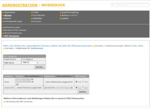 Abbildung - PHP-Version für www ändern