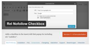 Abbildung - Rel Nofollow Checkbox