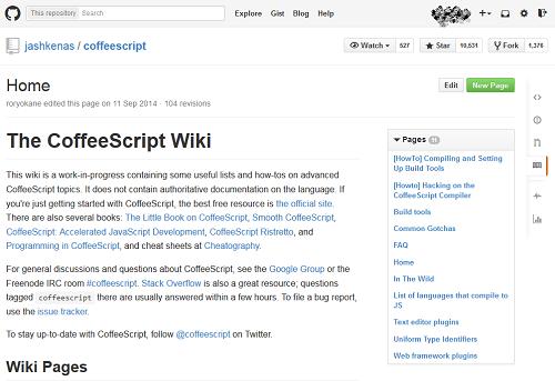 CoffeeScript Wiki