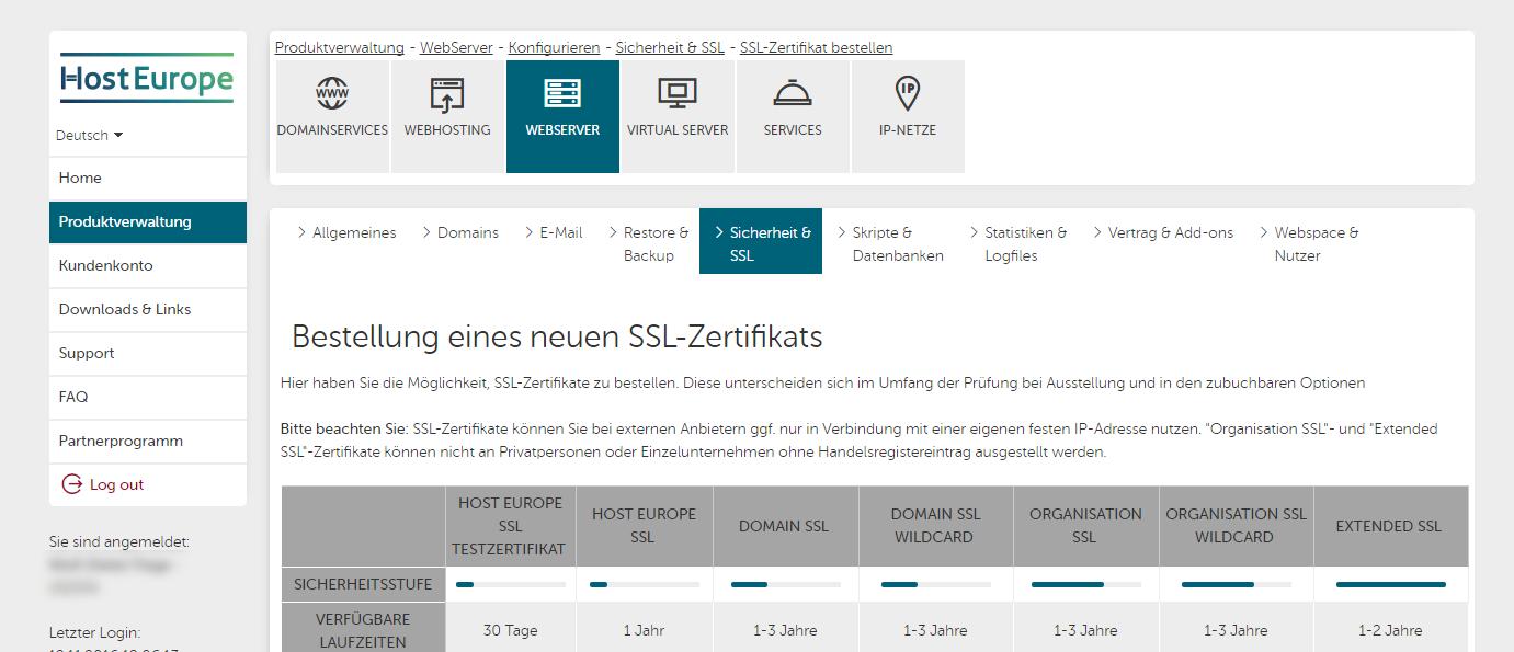 So Richten Sie Ein Ssl Zertifikat Für Webhosting Produkte Ein