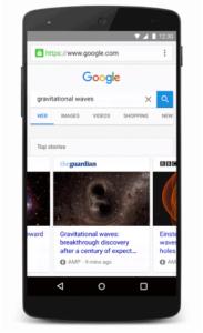 Abbildung AMP-Artikel Ansicht in Google mobile