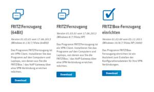Abbildung - Downloadbereich - Fritz!Box-Fernzugang