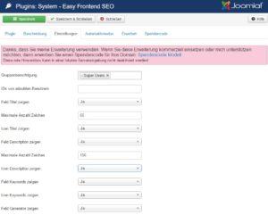 Abbildung - EFSEO - Easy Frontend SEO - Einstellungen