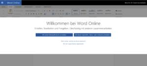 Abbildung - Willkommen bei Word Online - Anmeldung