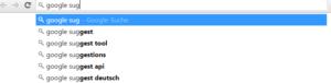 Abbildung - Google Suggest schlägt automatisch häufige Suchbegriffe vor