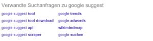 Abbildung - Google zeigt verwandte Suchanfragen an