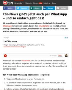 Abbildung - Whats App t3n