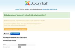 Abbildung 10 - Fertigstellung der Joomla-Installation