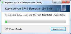 Abbildung 3 - Entpacken der Datei Joomla_3.5.1-Stable-Full_Package.zip unter Windows.