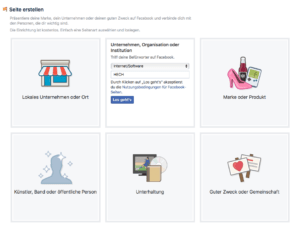 Abbildung 2 - Facebook-Seite für Unternehmen