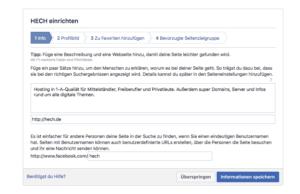 Abbildung 3 - Facebook-Seite für Unternehmen