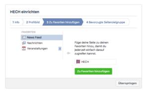 Abbildung 4 - Facebook-Seite für Unternehmen