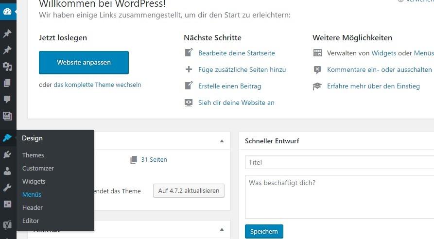 Navigationsmenü für WordPress erstellen und verwalten
