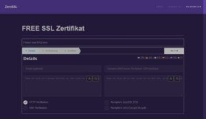Abbildung-Free SSL Zertifikat