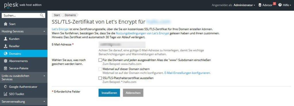 Abbildung - Menü - Let's Encrypt Einstellungen