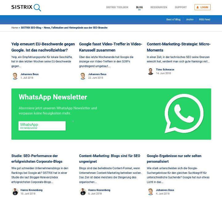 Abbildung - Artikelübersicht des SEO-Blogs von SISTRIX