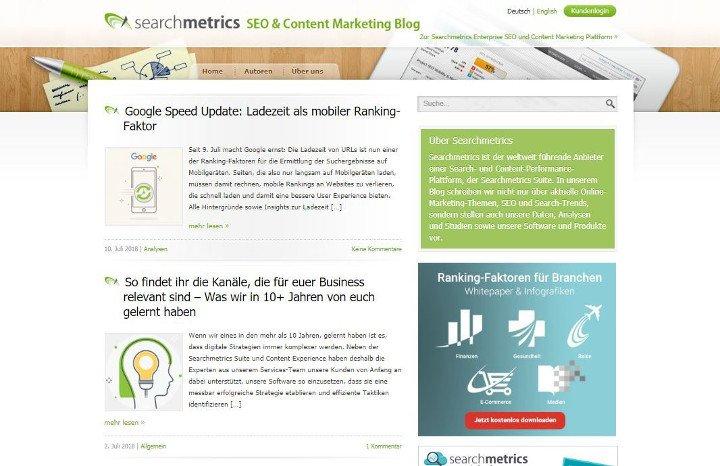 Abbildung - Artikelübersicht des SEO-Blogs von Searchmetrics