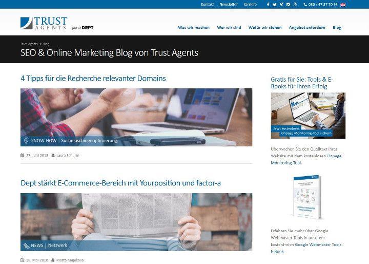 Abbildung - Artikelübersicht des SEO-Blogs von den Trust Agents
