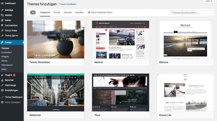 Abbildung - WordPress Themes auswählen - Große Auswahl an Designvorlagen