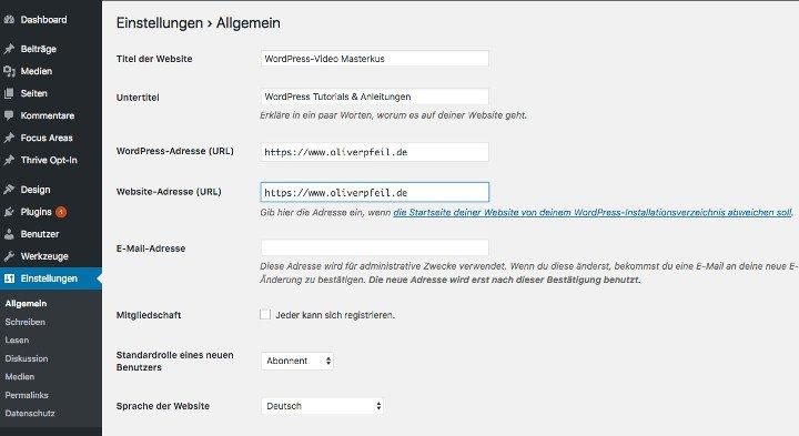 Abbildung - WordPress Einstellungen - Titel der Webseite eingeben - Untertitel bzw. Beschreibung der Webseite defineiren.