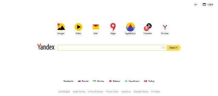 Abbildung - Yandex - die Suchmaschine aus Russland - Startseite