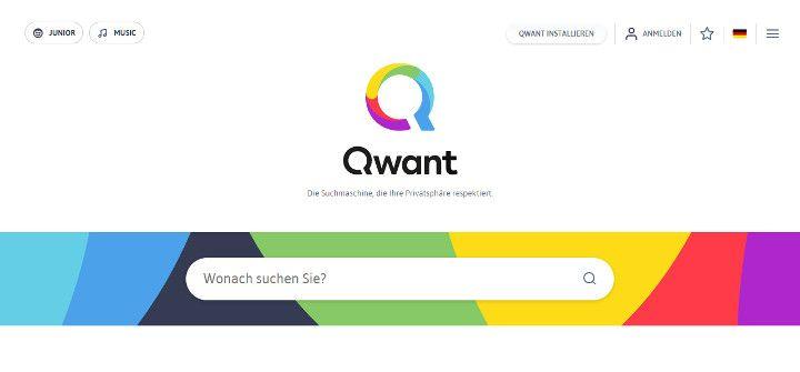 Abbildung - Qwant - Die Suchmaschine, die Ihre Privatsphäre - Startbildschirm