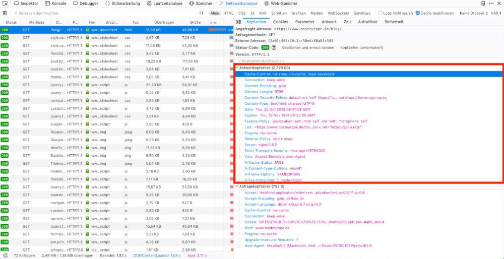 Abbildung - Informationen zum Header geben Entwicklerwerkzeuge - Screenshot des Entwicklertools