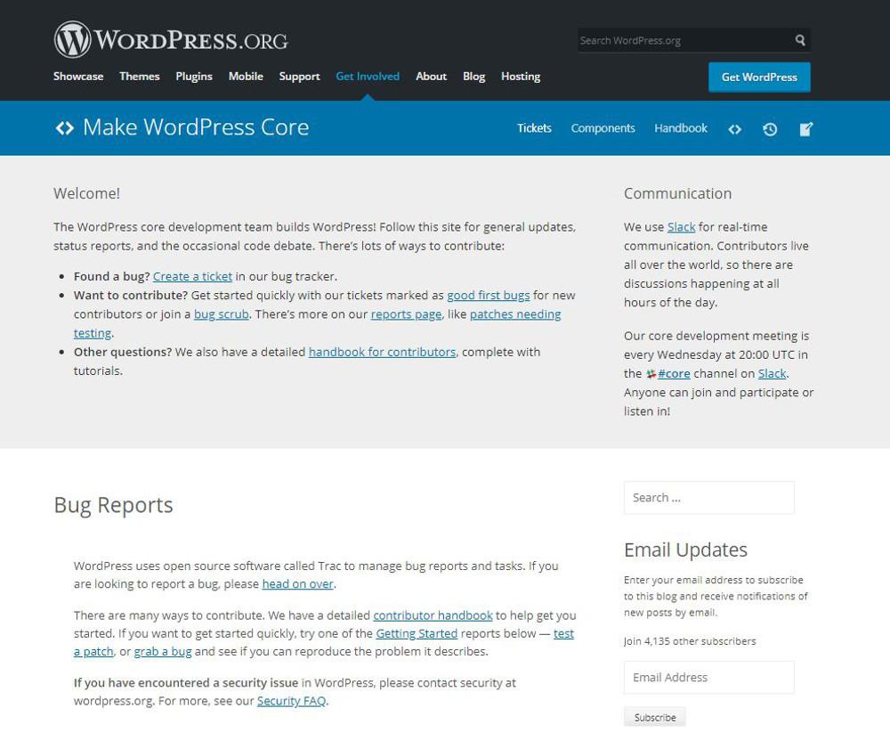 Abbildung - Bugreport auf WordPress.org