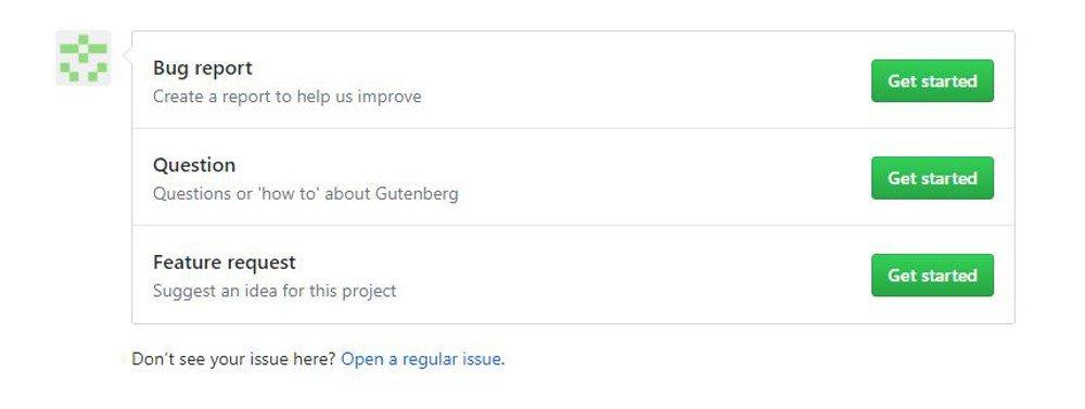 Abbildung - Ticket zu WordPress 5 auf GitHub eröffnen