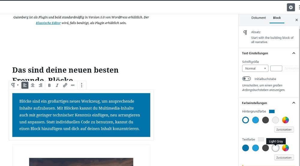 Abbildung - Einstellungen für Blöcke im Gutenberg Editor - Styles designen