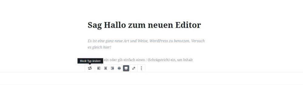 Abbildung - So ändern Sie den Blocktyp im WordPress Gutenberg Editor