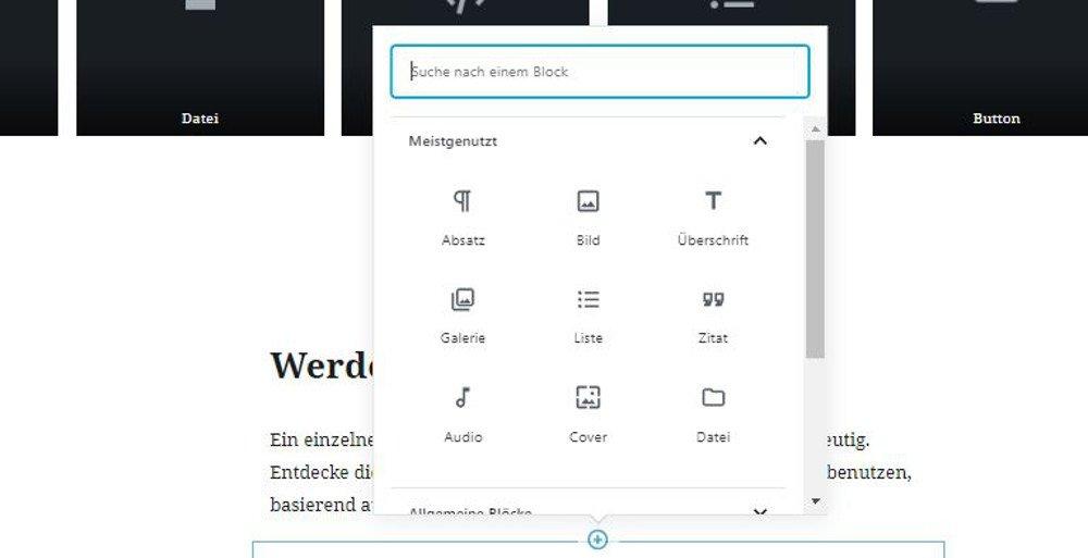 Abbildung - Mit dem Gutenberg Editor einen neuen Block erstellen