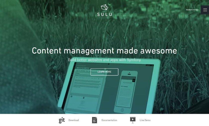 Abbildung - Startseite des neuen Content-Management-System SULUio